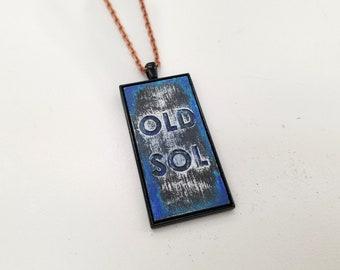 Old Sol Pendant Necklace - Black/Blue Distressed