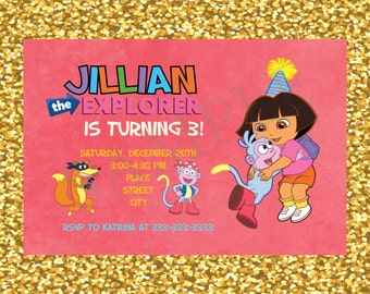Dora The Explorer Invitation, Dora The Explorer Printable Invite, Dora Birthday Party Card, Dora The Explorer, Personalized
