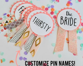 Pink Glitter Bachelorette Party Pins, Bachelorette Party Decorations
