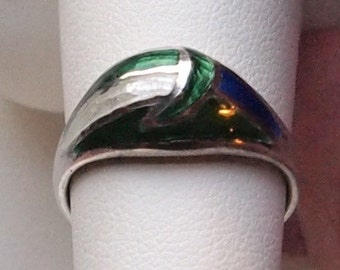 Enamel and Sterling Ring