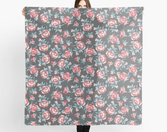 Pink Rose and Grey Scarf. Square scarf. Large Square Scarf. Summer Scarf.