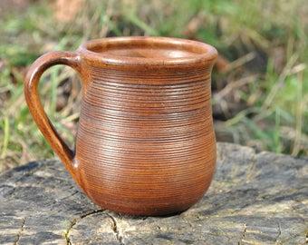 Unique Mug Ceramic Coffee Cup Mug with Ornament Hand Made Cup  Teacup  Mug for Juice Eco mug  Red Clay Rustic Gift