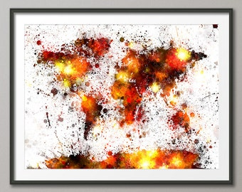 Paint Splashes Map of the World Map, Art Print (2044)