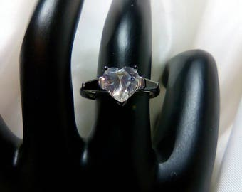 Heart Design Cubic Zirconia and Black Onyx Sterling Silver Ring OOAK