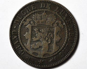 1870 Luxembourg 10 Centimes KM23.1 Bronze Coin