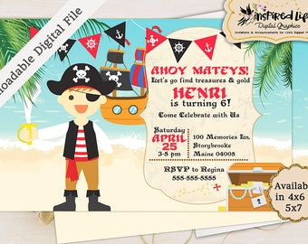 Pirate Boy Birthday Invitation with different boy options / Custom Pirate Birthday Invitation/ Ocean Birthday Invitation/ Ahoy Matey