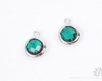 F127-02-S-EM// Rhodium Plated Emerald Faceted Round Glass Pendant, 2 pcs