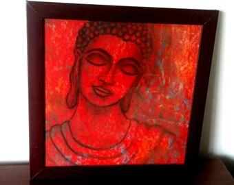Buddha Painting, Original Organic Contemporary Buddha Painting, Colorful Traditional Buddha Art For Home Decor, Handmade Paper, Wooden Frame