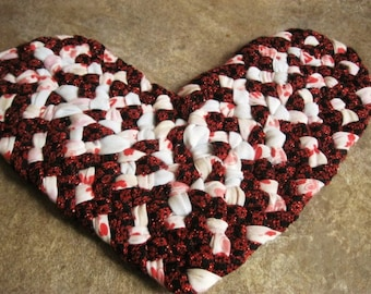 New Ready To Ship Handmade Recycled Holiday Hand Braided Christmas Fabric Heart Trivet / Hot Pad / Doily for Kitchen in red and white