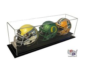 Acrylic Desk or Counter Top Triple Mini Helmet Display Case by GameDay Display