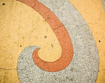 swirl curve terrazzo urban modern midcentury minimalist yellow orange print fine art photography