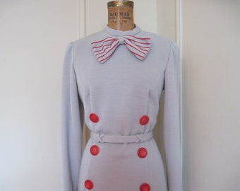 Super SASSY Grey & Red LIBRARIAN Bow Tie Dress, vintage 1960s, size large