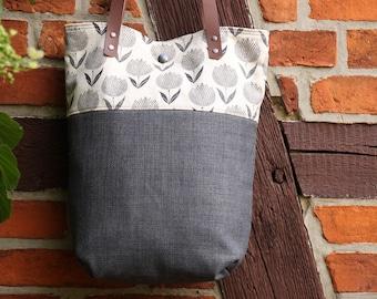 Shoulder bag with leather handles, fabric bag, grey,