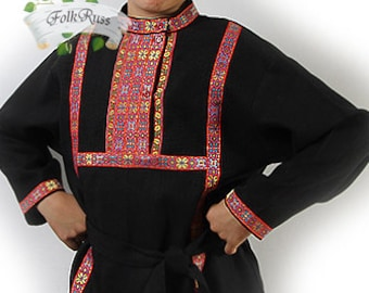 Russian traditional slavic linen shirt Kosovorotka, Slavic shirt, Cossack shirt, Folk shirt, Historcal costume, Eco material shirt