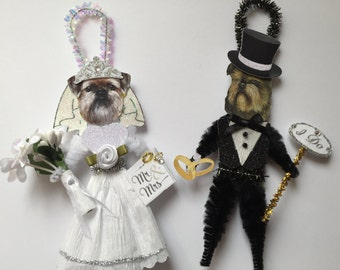 Brussels Griffon BRIDE & GROOM ornaments Wedding Dog ornaments vintage style chenille ORNAMENTS set of 2