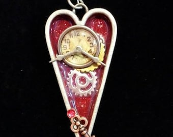 Heart clock Steampunk pendant