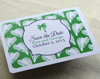 Palm Tree Save the Date Postcard - Tropical Beach Wedding - Travel Destination Theme