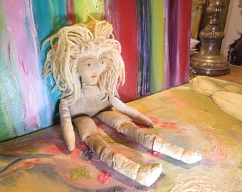 Fab Antique Rag Doll Leather Boots were made for walking! Yarn Hair Sewn Features