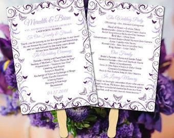 "Butterfly Wedding Program Fan Template - DIY Ceremony Program Fan - ""Butterfly Flourish"" Order of Ceremony - Eggplant Lilac Silver Program"