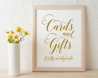 Gold Cards and Gifts Sign, Instant Download Gift Table Reception Sign, Printable Wedding Sign, Calligraphy, PDF, Wedding Printable, WPC_966