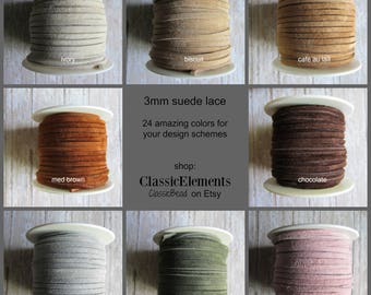 CHOOSE length of 3mm Suede Lace, Choose Color of Suede lace, Choose Length, Suede Lace, Suede, Leather Lace, Suede Lace, Leather lace