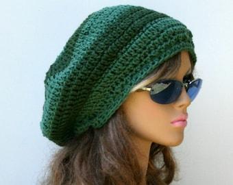Sage Thyme green slouchy beanie, smaller dread tam hat, earthy dreadlocks hat, slouch hat, woman man beanie, Bohemian hat, women men beanie