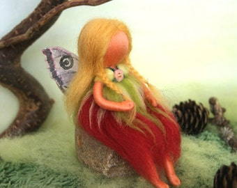 The cherry red fairy, summer - Waldorf inspired, needle felted, by Naturechild