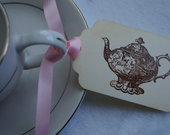 Teapot Tea Party Tags, Tea party gift tags, Set of 10