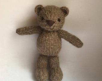 Pre Order. Teddy bear newborn prop toy |Knitted mini brown teddybear for newborn photo props |knitted toy | teddybear lovie