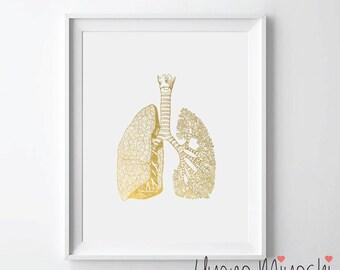 Human Lungs III Anatomy Gold Foil Print, Gold Print, Custom Print in Gold, Gold Art Print, Human Lung Trachea Bronchi Gold Foil Art Print