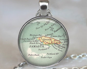 Jamaica necklace, Jamaica pendant Montego Bay pendant Kingston Jamaica map necklace map jewelry key chain keychain key ring key fob