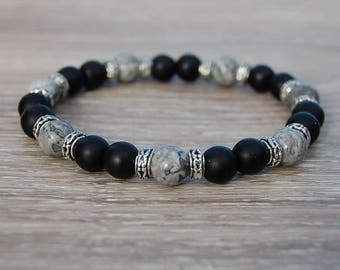 Black Onyx Bracelet,Black and Grey Gemstone 8mm Beads,Onyx Bracelet,8mm Onyx Beads,Boho,Yoga Bracelet,Men,Woman,Protection,Meditation,Gift
