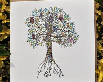 Owl Tree Greeting card 6x6''