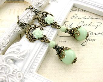 Vintage Style Mint Earrings - Mint Resin Rose Earrings - Antique Brass Bronze Earrings - Rustic Wedding Victorian Earrings Mint Jewelry