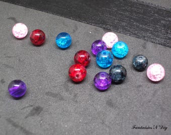 (PV1) Set of 20 beautiful cracked glass pearls 6mm 5 colors