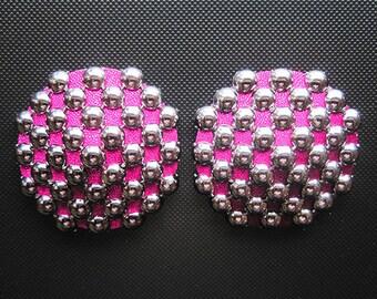 Heavy Metal burlesque pasties Studded nipple covers Hot pink tassels Erotic lingerie Custom made lingerie