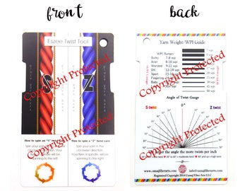 card ONLY Eszee Twist Tool  Spinners control card WPI gauge, TPI gauge, angle of twist gauge, S and Z gauge, yarn thickness gauge