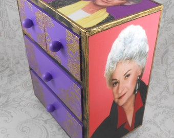 Bea Arthur Golden Girls Maude Metallic Gold Stash Jewelry Box