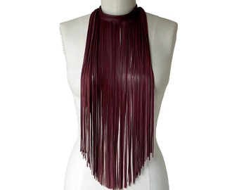 Leather Fringe Choker Necklace or Scarf, Oxblood red, Long fringe necklace, Leather scarf, Fetish wear, Stage wear, Cosplay, Burgundy Wine