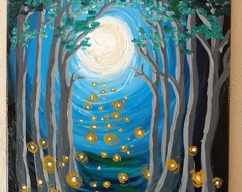 "Original ""Fireflies"" textured gloss acrylic painting on 11""x14"" canvas"