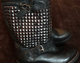 Studded Leather Biker Boots