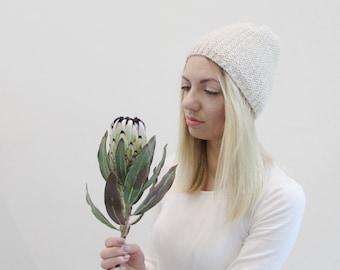 Beanie, knit, slouchy beanie, wool blend, winter hat, handmade, light, cream beanie, skull cap