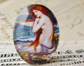"""John William Waterhouse """"A Mermaid"""" 40x30mm glass oval cabochon, artisan crafted in this shop, fine art cabochon, Art History collection"""