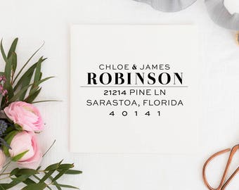 Custom Address Stamp - Return Address Stamp - Wedding Address Stamp - Minimal Address Stamp - Personalized Address Stamp  No.124