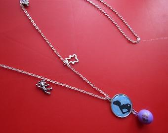 CLEARANCE necklace pregnancy Bola silver blue black purple