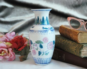 Vintage Porcelain Vase with Floral Decoration