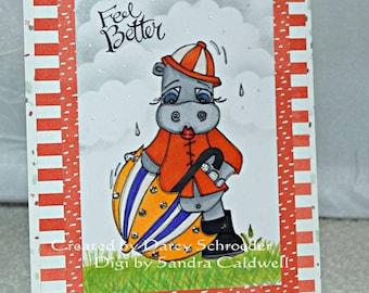 1506 Rainy Day Hippo Digi Stamp