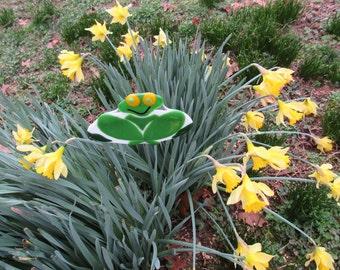 Mother's Day Sale; Fused Glass Frog Garden Stake; Fused Glass Garden Stake; Yard Art; Garden Stake; Garden Art; Yard Art; Garden Decoration/