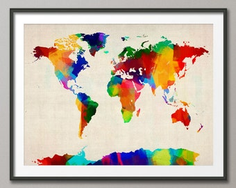 Rolled Paint Map of the World Map, Art Print (894)