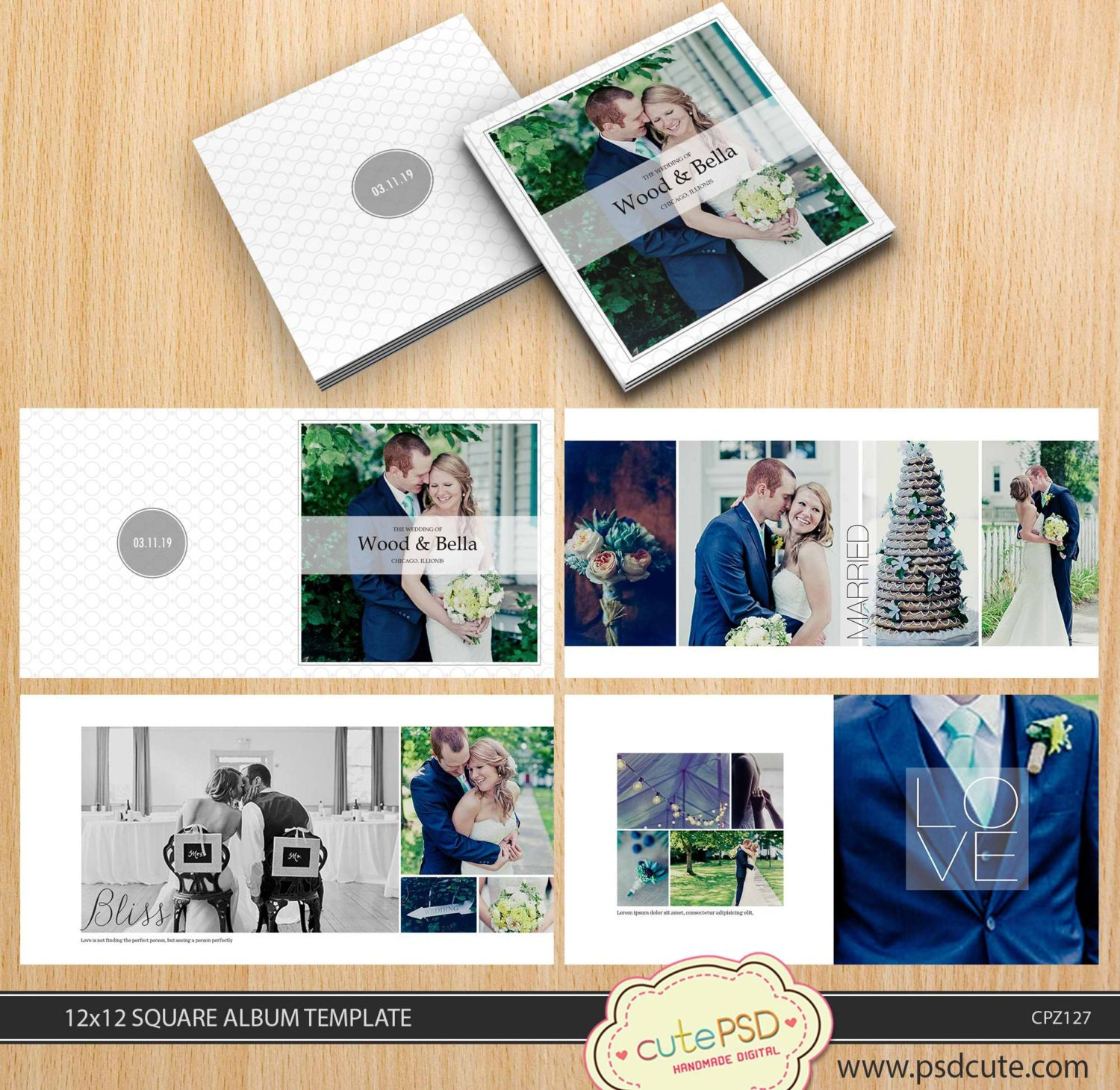 Square wedding album template 12x12 10x10 8x824 pages White